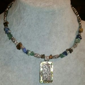 Silver, Gemstone Collar Necklace with Silver Beads